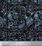 Soimoi Blau Poly Georgette Stoff Blumen & Paisley gedruckt