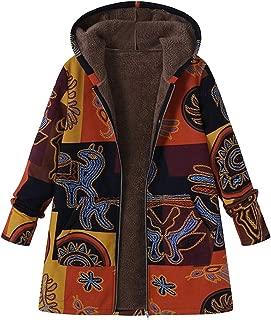 Womens Hooded Coats Large Size Jackets Long Sleeve Cotton Linen Fluffy Fur Zipper Coat Outwear