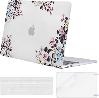 MOSISO MacBook Pro 13 inch Case 2019 2018 2017 2016 Release A2159 A1989 A1706 A1708, Plastic Pattern Hard Shell & Keyboard Cover & Screen Protector Compatible with MacBook Pro 13, Apricot Floral Clear