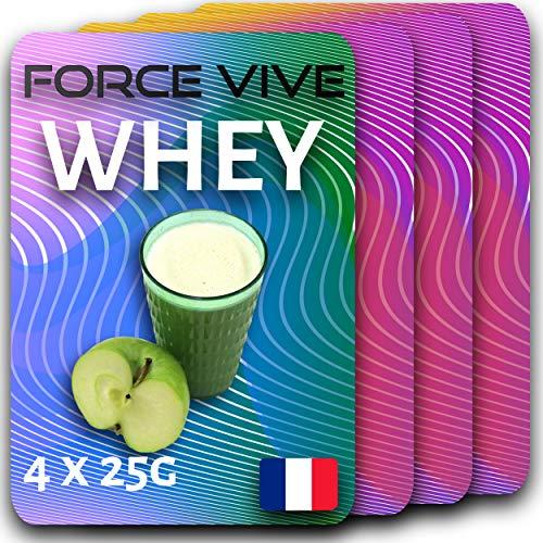 Pack de 4x25g Whey Goût Naturel Pomme | Prenez le CONTRÔLE de votre alimentation | Protéine de Lait Arômes Naturels Protéines Pour Homme ou Femme Prise de Masse Nutrition Régime Maintien Musculaire