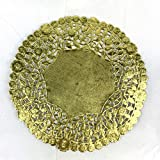 Worlds 50 Pack Round Gold Metallic Foil paper Doilies 10'Inch