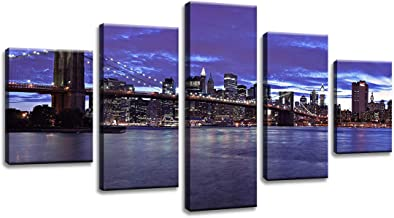 decalmile 5 Panel Wall Art Painting New York Brooklyn Bridge at Night City View Picture Printed on Canvas DIY Modern Artwo...