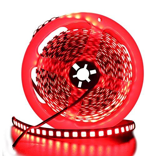 LED Strip 5M, XUNATA LED Streifen SMD 5054(Heller als 5050)Rot LED Lichtband IP65 Wasserdicht Selbstklebend LED Bander, Ideal für Garten, Weihnachten, Küche, Party (Rot)