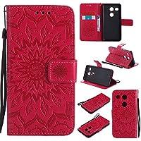 Guran® Funda de Cuero para LG Nexus 5X 5.2 Smartphone Función de Soporte con Ranura para Tarjetas Flip Case Cover-Rojo