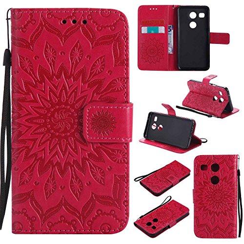 pinlu Flip Funda de Cuero para LG Nexus 5X 5.2 Carcasa con Función de Stent y Ranuras con Patrón de Girasol Cover (Rojo)