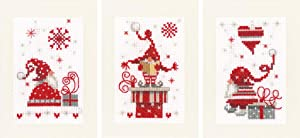 Vervaco Counted Cross Stitch Greeting Card Kit Christmas Gnomes (Set of 3) 6