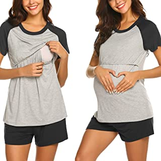 Ekouaer Women Maternity Pajamas Set Short Raglan Sleeve Baseball Nursing Nightgown for Breastfeeding Sleepwear (S-XXL)