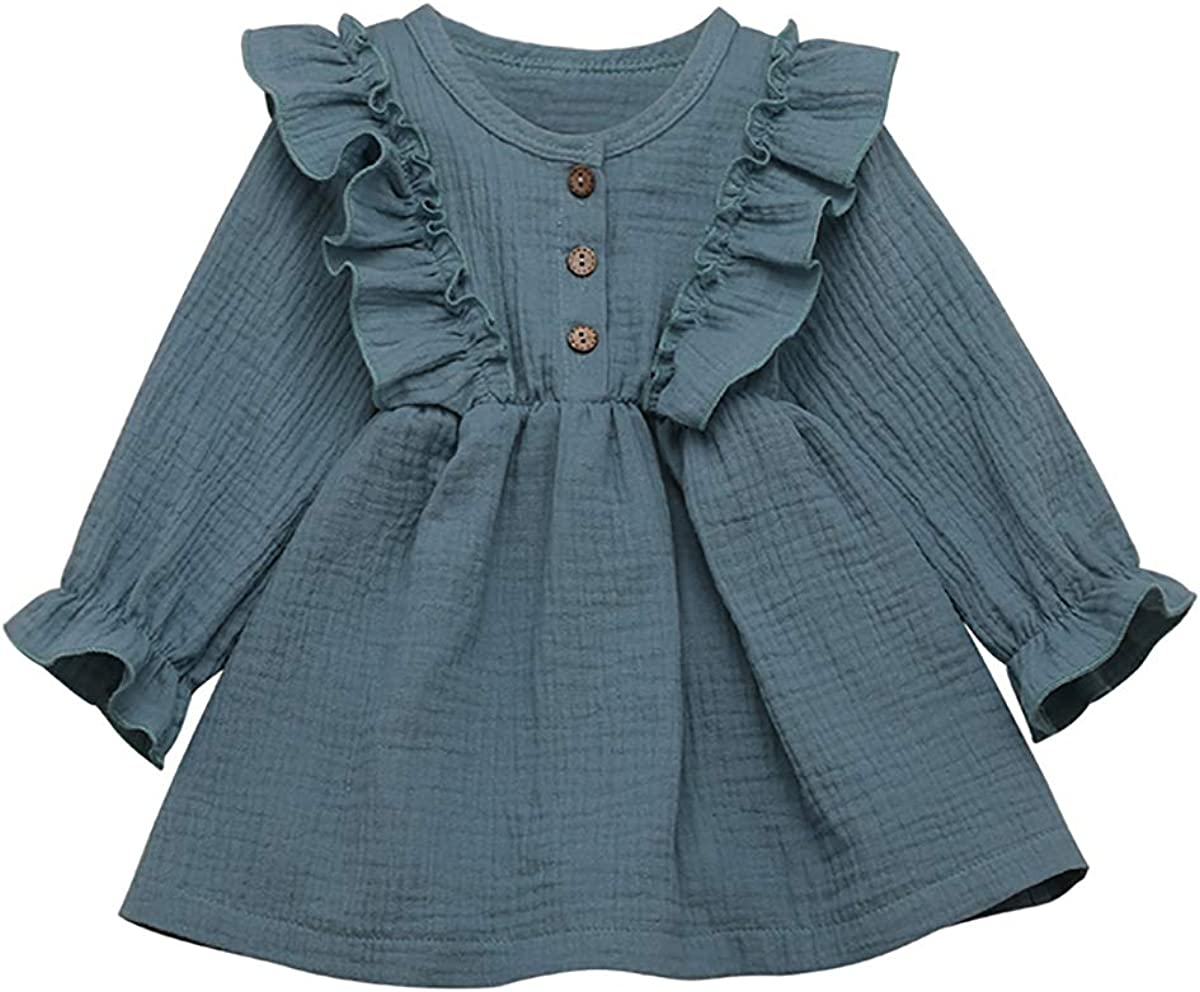 Tianhaik Oklahoma City Mall 1-5T Toddler Excellent Baby Girl Ruffle Dress Princess Sleev Long