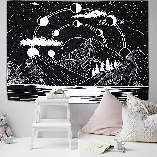 Tapiz colgante de pared de montaña Tapices Psychedelic Stars Rivers Tapiz de pared Decoraciones para el hogar para el dormitorio de la sala de estar 200cmx150cm
