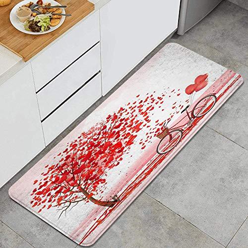 GEEVOSUN Globos de Bicicleta de árbol de corazón Rojo de San Valentín para Tema romántico Alfombrillas de Cocina Antideslizantes Felpudo Lavable Juego de Alfombras de Microfibra