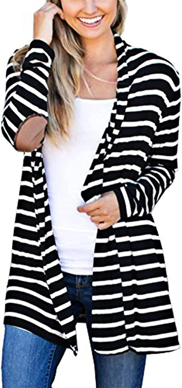 MerryfunWomen's Shawl Collar Striped Cardigan Long Sleeve Elbow Patch Open Front Sweater top