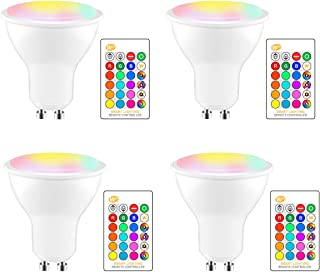 GU10 LED Bulbs, ALLOMN RGBW 8W LED Color Changing Spot Light with IR Remote Control, 16 Colors 4 Modes and Memory Function, Perfect for Party Festival Household Bar Wedding (4 Pack)