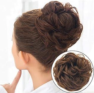 Messy Bun Hair Piece Women Dodoing Curly Messy Buns Hair Piece Scrunchie, Extension Blonde Black Brown Wig Human Hair(6pcs...