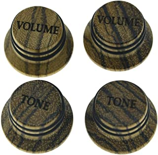 KAISH Zebra Wood Knobs LP/Strat Style Volume Tone Top Hat Wooden Knobs Bell Knob for Metric 5.8mm Shaft Pots
