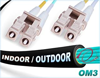 FiberCablesDirect - 200M OM3 LC LC Fiber Patch Cable | Indoor/Outdoor 10Gb Duplex 50/125 LC to LC Multimode Jumper 200 Meter (656.16ft) | Length Options: 0.5M-300M | 1/10/40/100g 10gbase lc-lc ofnr