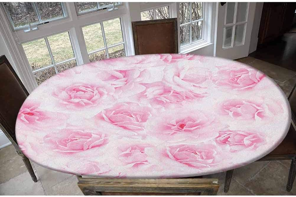 LCGGDB Elastic Polyester Fitted Table Cover Safety and trust Pass Plenty of Roses Year-end annual account
