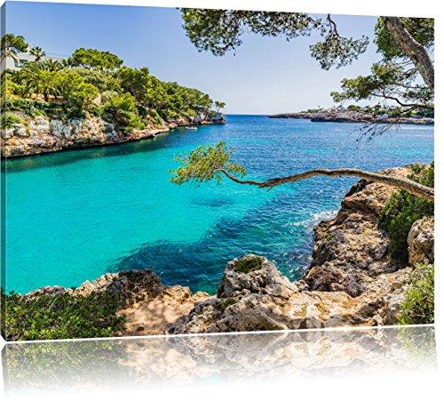Pixxprint Mallorca Bay Cove als Leinwandbild | Größe: 100x70 cm | Wandbild | Kunstdruck | fertig bespannt