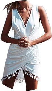 shushiye - Vestido de Playa para Mujer con Cuello en V y Borla