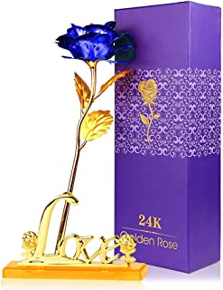 """Winnsty 24K Eternal Golden Plated Rose with """"Love"""" Stand in Gift Box (Blue)"""