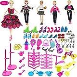 Kingsley 83pcs Girl Doll Fashion Clothes Playset para incluir 5 Piezas de Ropa y 78pcs Muñecas Accesorios Zapatos Bolsas Collar Espejo Percha Vajilla para Muñecas