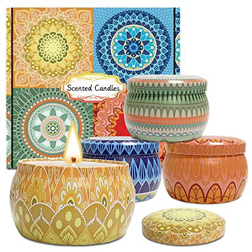 KINIFE Vela de aromaterapia, Juego de 4 Piezas Velas Aromaticas Decoración Boda, Baño, Yoga, un Regalo para Cumpleaños, Navidad,...