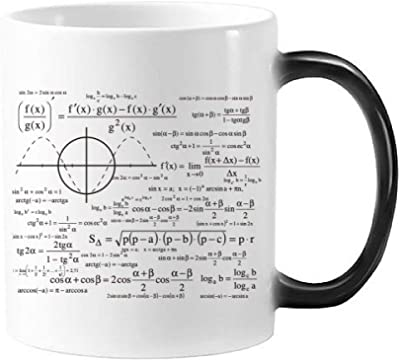 【白陶器クラシックマグカップ350 ml】曲線グラフ計算数式 熱に敏感で色が変えるマグカップ・贈り物・ギフト・ミルクやコーヒーの容器・モーフィング・ハンドル付き