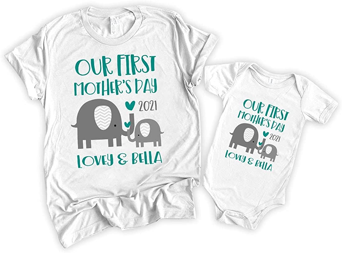 Our First Mother's Day 2021 Large discharge sale T-Shirt Matching Elephant Baby Mom unisex