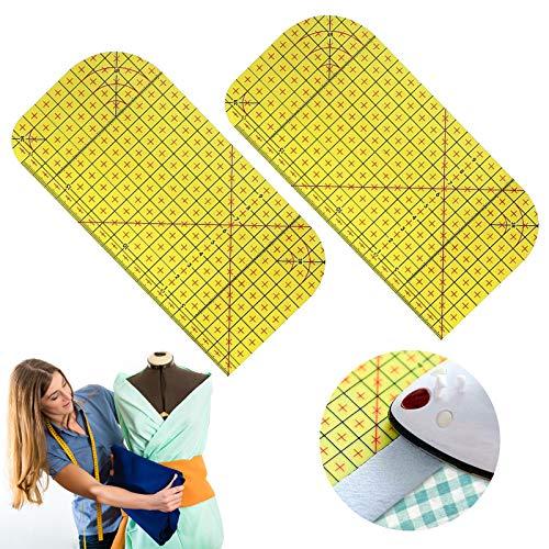 2 PCS Hot Ironing Measuring Ruler,High Temperature Resistance Ironing Iron Rule DIY Sewing Supplies Measuring Handmade Tool
