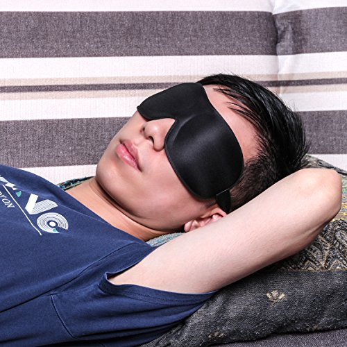 HOROMA Sleeping Mask, Lightweight Portable Eye Contoured Eye Mask with Travel Carry Pouch, Black