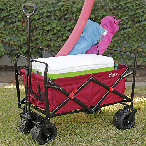 Clevr Large Collapsible Outdoor Wagon Cart with Wide All Terrain Wheels, Red 265 Lb Capacity, Easy Folding Utility Garden Transport Trolley, Great for Parties, Shopping, Beach, Park, Sports