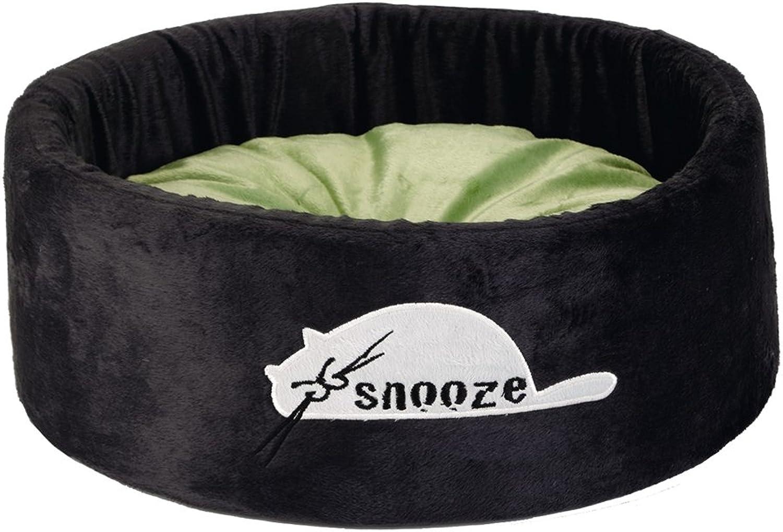 Beeztees Snooze Plush Rest Bed, 40 x 40 x 15 cm, Black