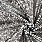 Dekotaft Crash glänzend – silber — Meterware ab 0,5m — zum Nähen von Kissen/Tagesdecken, Tischdekoration & Gardinen