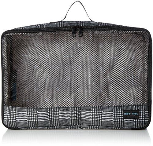 [ハピタス] オーガナイザー Lサイズ パッキングバッグ 中身がわかるメッシュ生地 豊富な柄 13L 28 cm 0.18kg グレンチェックブラック