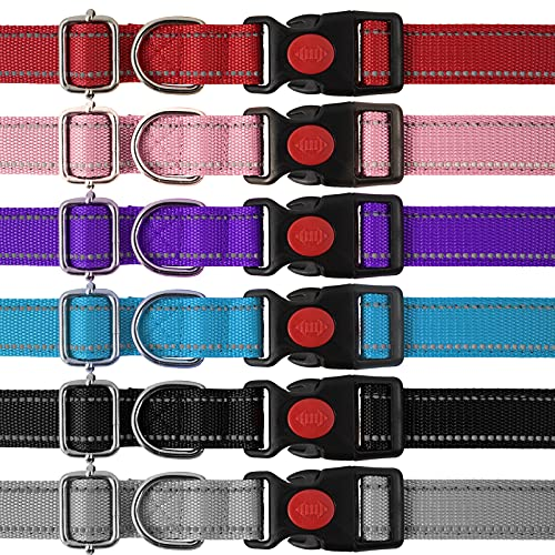 MUMUPET Reflective Dog Collar with Safety Locking Buckle, 6 Pieces,Soft Neoprene Padded Breathable Nylon Pet Collars Adjustable for Small Medium Large Dogs, 6 Colors,2 Sizes