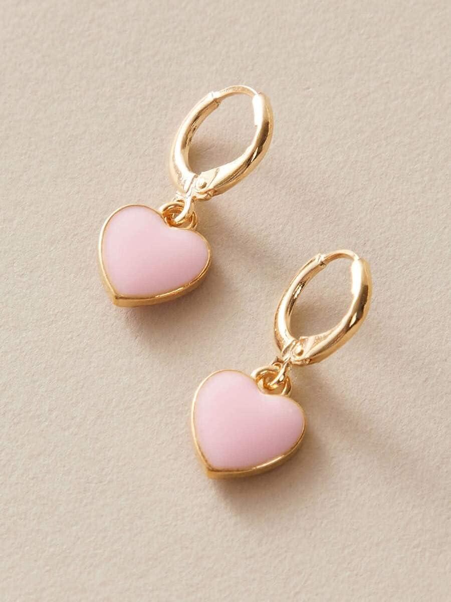 ZHCHL Hoop Earrings 1pair Heart Drop Ear Cuff (Color : Pink)