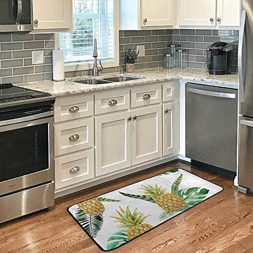 Kitchen Rug Mats 39 X 20 Inch Tropical Fruit Pineapple Soft Doormat Bath Rugs Runner Non-Slip for Home Decor