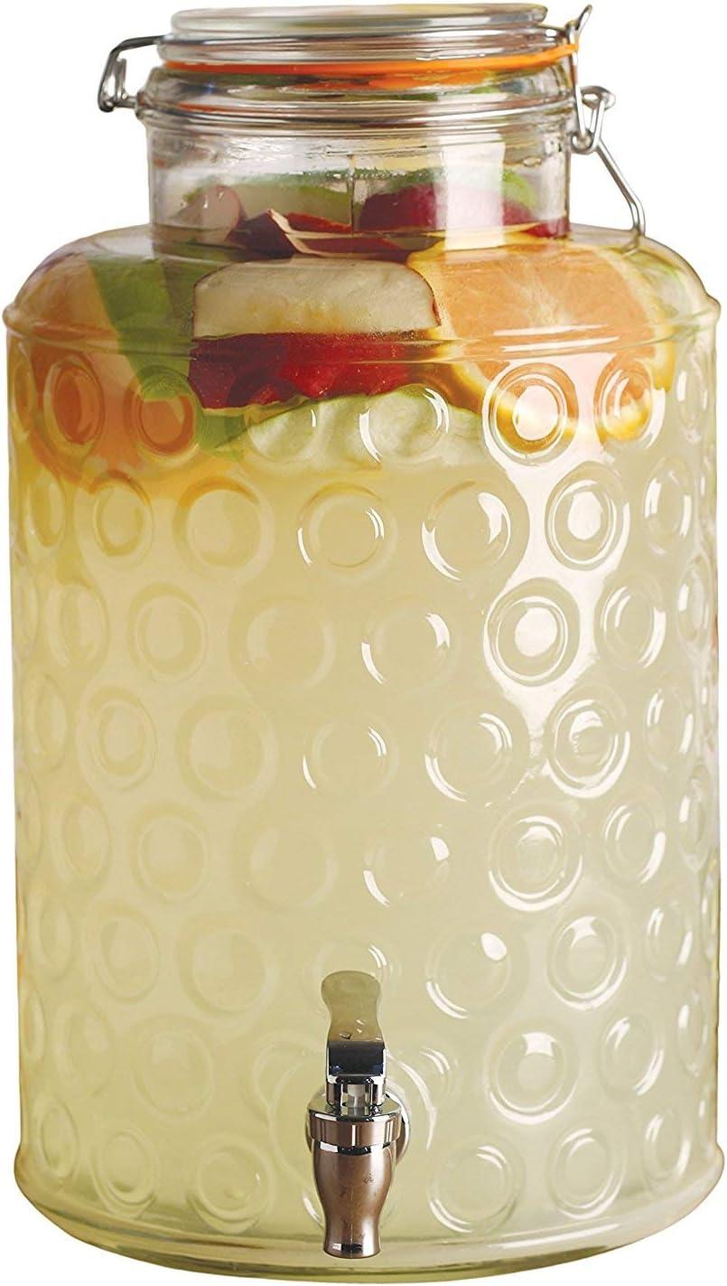 Circleware Circles Glass Beverage Dispenser with 在庫一掃 Lid スーパーセール Fu Locking