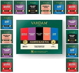 VAHDAM, Schwarze Tee Sampler, 5 Tees-Vielfaltpaket | Verschiedene schwarze Teebeutel | Englisches Frühstück, Darjeeling, Assam, Earl Grey Teebeutel | 20 Zählen|Perfektes Valentins-Geschenk
