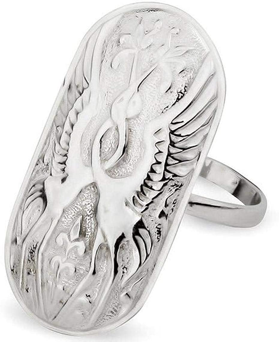 Fashion Ring Two Magical White Mascot Sterling Spring new work one after another Max 62% OFF Cranes Ethnic S