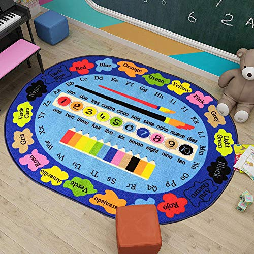 Kids Rug 40×51 inches ABC Numbers Colors Bilingual Educational Learning Area Rug Children Carpet Play Mat Rug