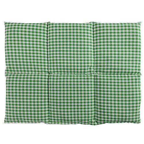 Bio-Dinkelkissen groß 40x30cm 6-Kammer, grün-weiß - Wärmekissen Dinkel Körnerkissen für Mikrowelle und Backofen - Dinkel-Kissen 30x40, grün-weiß