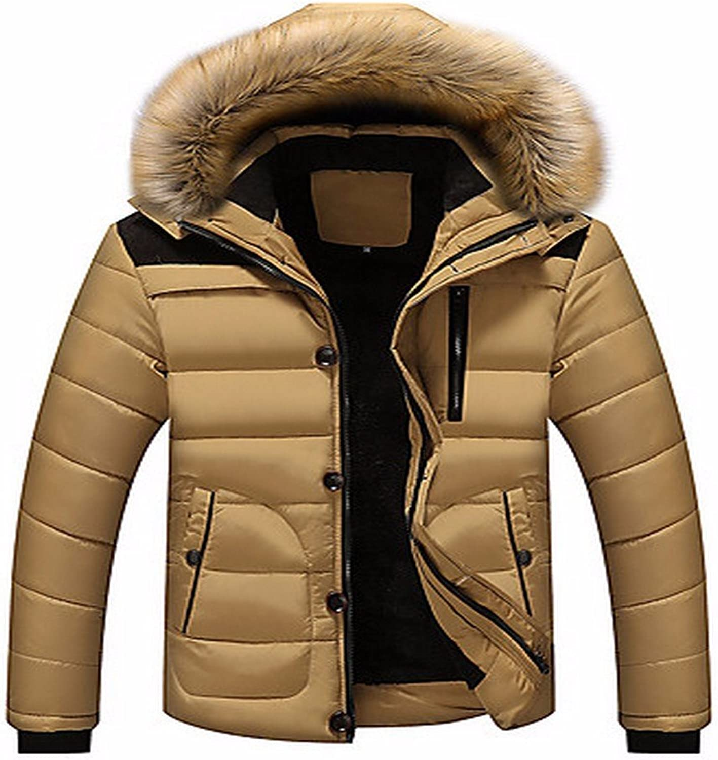 ZHUDJ Men's Short Padded Coat,Simple Casual Daily Striped-Polyester Polyester Long Sleeves
