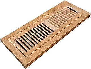 Homewell Red Oak Wood Floor Register, Flush Mount Vent with Damper, 4X14 Inch, Unfinished
