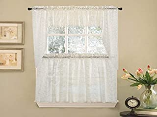 Sweet Home Collection Elegant Priscilla Lace Kitchen Curtains, 24