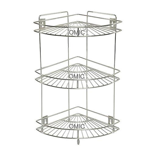 Adbucks Corner Stand, Big - Single (3-Tier), (20' x 12.5' x 9' Inch), Stainless Steel (Multipurpose Storage Rack/Shelf - Kitchen, Bathroom etc.)