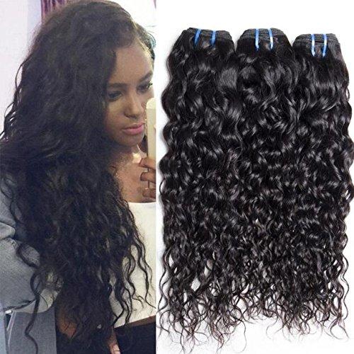 Maxine Hair 9A Brazilian Natural Water Wave Virgin Hair Weave 4 Bundles 100% Human Hair Extensions Natural Color 95-100g/pc (10 12 14 16)