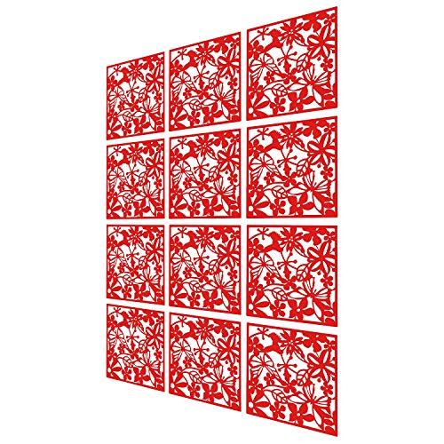 MAFAGE Trennwände zum Aufhängen DIY, Raumteiler für Hotel, Zuhause, Bar, Zimmer, 40 x 40 cm Schwarz (Rot, 12 Stück)