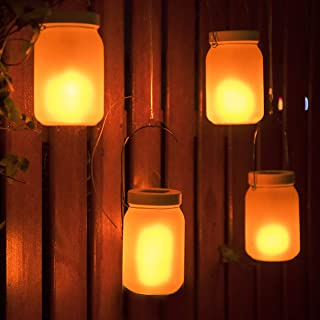 Solar Mason Jar Light with The Flickering Flame Effect(Mason Jar/Hanger Included) 4 Pack,Outdoor Solar Table Light for Patio Yard Garden Party Wedding Christmas,Outdoor Decorative Hanging Light Zkee