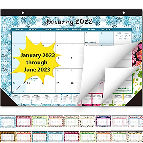 Desk Calendar 2022-2023: Monthly Pages 17 x 11-1/2 Inches Runs from January 2022 Through June 2023-18 Monthly Desk/Wall Calendar can be Used Throughout 2022