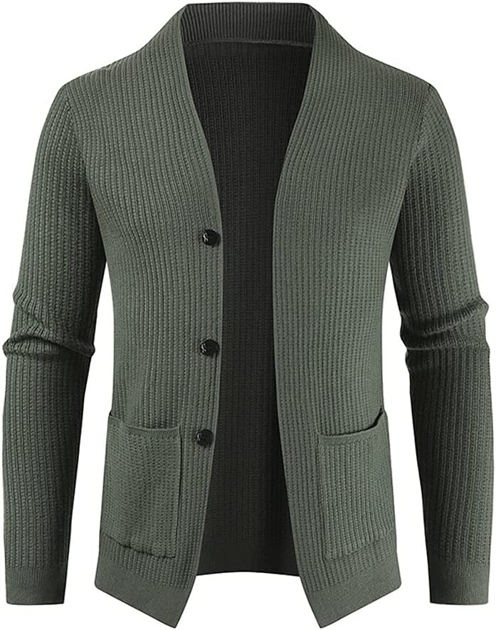 SLATIOM Autumn and Winter Men's Cardigan Single-Breasted Fashion Knit Plus Size Sweater (Color : Green, Size : L Code)